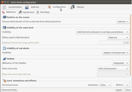 Mac OS X-Style  cariop Dock on Ubuntu