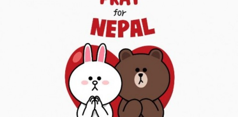 "LINE releases ""Pray for Nepal"" Charity Stickers  to Aid Victims of Nepal Earthquake"