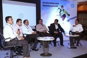 The Panelists (from L to R): Ashish Sardhara-Director, REA and Astron Engineering Works, Yashraj Rathod-Director, REA and Blossom Kitchenware, Jayesh Radadiya-Secretary, REA and Chairman, Nimco Pumps, Deepak Patel-Applied Auto Parts Pvt Ltd, Ashish Agarwal-Zonal Manager, HP India, and the moderator, Anil Chopra-Editor, PCQuest.
