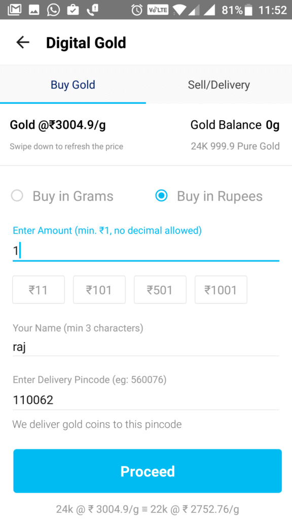 PayTm Starts Selling Gold at as Low