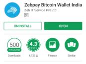 Bitcoin Exchange Zebpay reaches 500,000 downloads mark