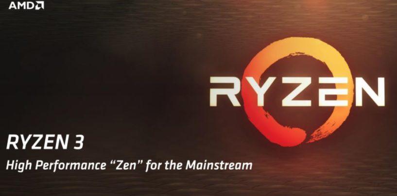 AMD Completes Ryzen Mainstream Desktop Lineup with the Release of Ryzen 3 Processors
