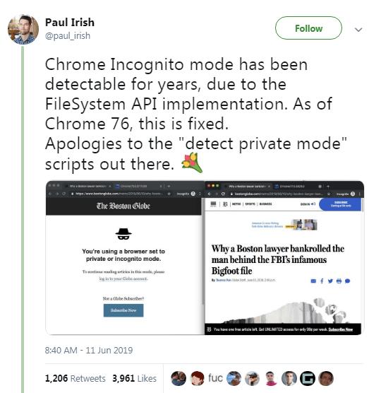 Paul Irish's tweet screenshot about chrome 76