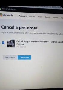 Player refunding Modern Warfare pre order