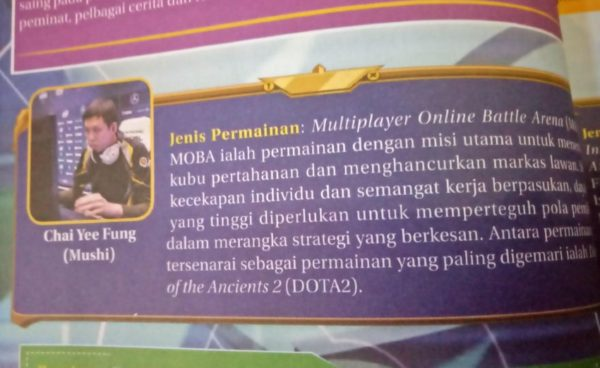 Dota 2 legend Mushi featured in a 10th grade Malaysian textbook