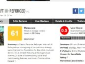 Warcraft III: Reforged lowest rated game on Metacritic, Blizzard offers refunds